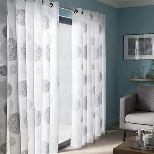 Rideau Gris Et Blanc : voilage tamisant grande largeur 5 mondes blanc et gris ~ Dailycaller-alerts.com Idées de Décoration