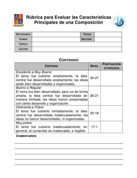 Rúbrica Para Evaluar Las Características Principales De Una Composiciónestudiante