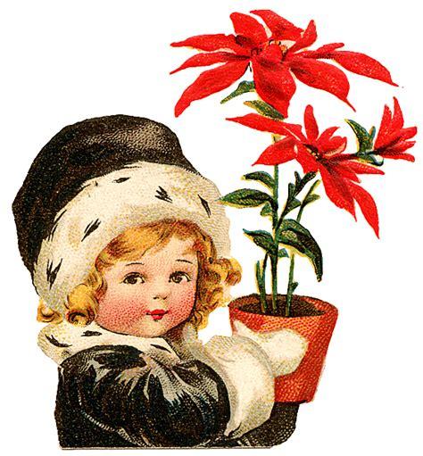 vintage clip art images poinsettia vintage  clip art