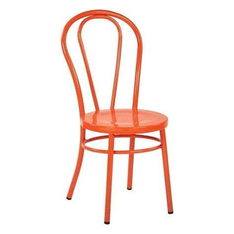 metal patio dining chair in solid orange set of 2