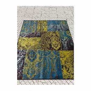 Tapis Jaune Et Bleu : sauvage tapis vintage 100 viscose couleurs dominantes ~ Dailycaller-alerts.com Idées de Décoration