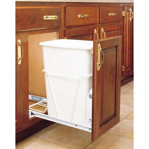 cabinet trash can shop rev a shelf 35 quart plastic pull out trash can at