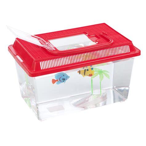 plastic starter aquarium fish tank reptile insect goldfish cage carry handle lid ebay