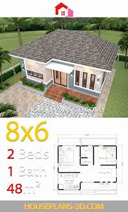 House, Plans, 3d, 8x6, With, 2, Bedrooms, Hip, Roof