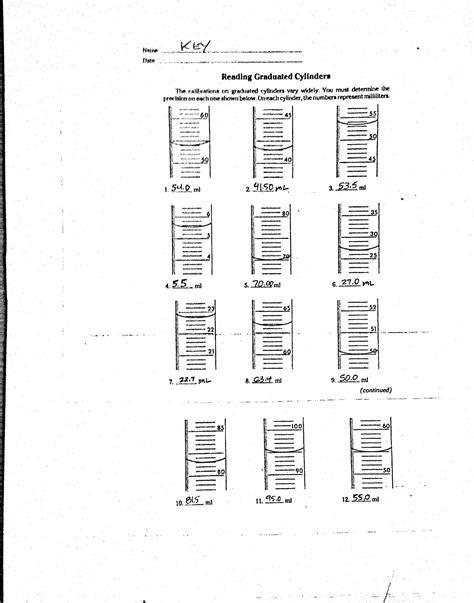 printables reading graduated cylinder worksheet