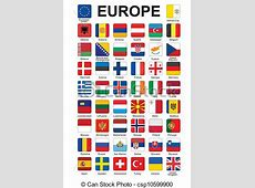 Vector Clipart of buttons with flags of Europe set of