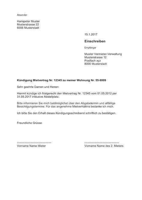 vorlage kündigung mietwohnung durch mieter k 252 ndigung wohnung mietvertrag vorlage muster vorlage ch