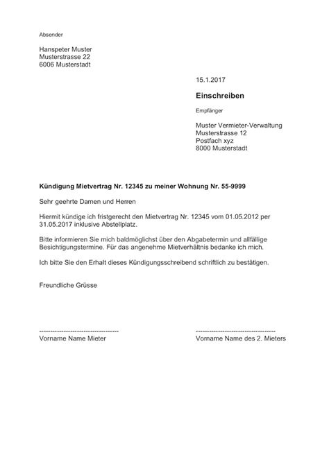 kündigung mietvertrag musterbrief k 252 ndigung wohnung mietvertrag vorlage muster vorlage ch