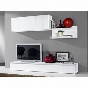 Meuble Bas Salon : meuble tv bas long blanc ~ Teatrodelosmanantiales.com Idées de Décoration