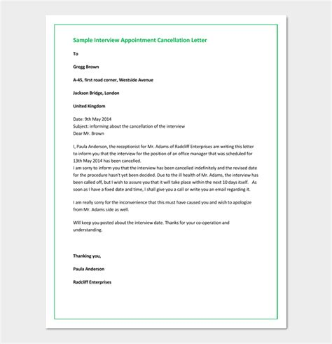 appointment cancellation letter  sample letters