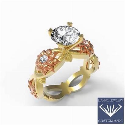 Ring Diamond Engagement 18k Solid Moissanite Rings