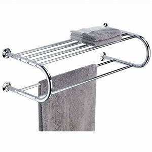 Organize, It, All, Bathroom, Wall, Mounted, Chrome, Finished, Shelf, With, Towel, Rack