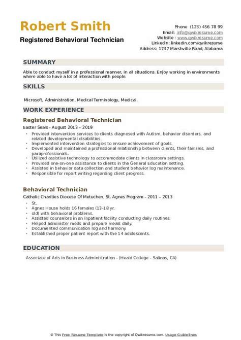 behavioral technician resume samples qwikresume