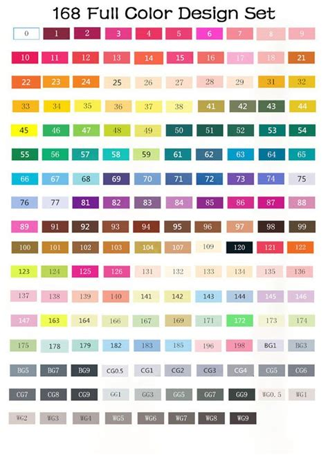 touch  markers color chart   coloring