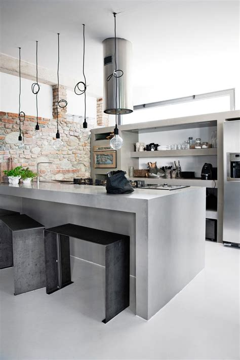 concrete kitchen designs  bring contemporary  sleek
