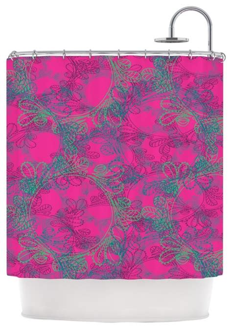 Pink And Teal Curtains by Patternmuse Quot Jaipur Pink Quot Pink Teal Shower Curtain