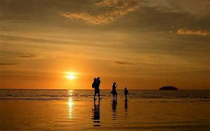 Background Wallpapers Silhouette Sunset Beach Happy Backgrounds