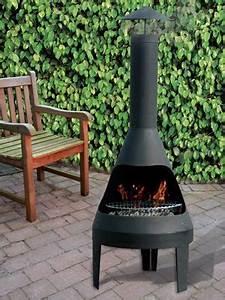 Cheminee Exterieur Bois : chemin e d 39 ext rieur barbecue en m tal noir avec grille ~ Premium-room.com Idées de Décoration