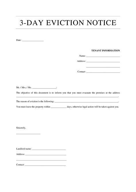 eviction notice template examples templates assistant