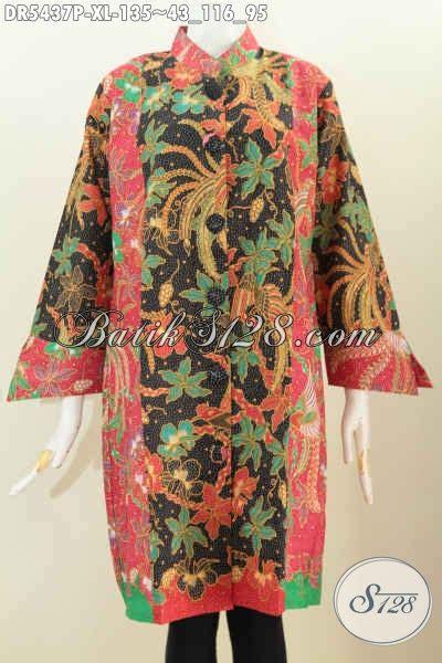 jual fashion batik desain dress kancing besar baju batik