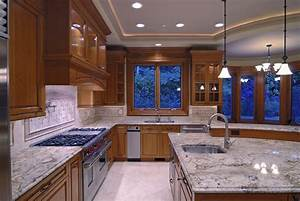 Kitchen island pendant lighting design : Contemporary high end natural wood kitchen designs