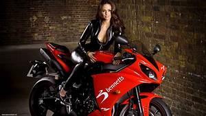 Yamaha Yzf R1 2009 Sportbike Rot Motorrad Motorrder P1 Girl
