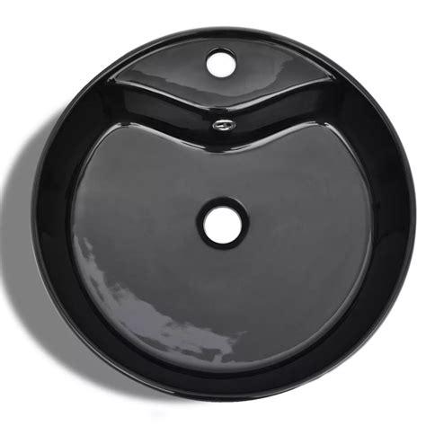 Ceramic Bathroom Sink Basin Faucetoverflow Hole Black