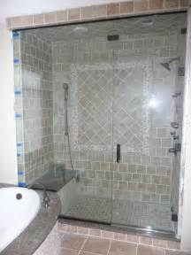 bathroom tiled shower wall panel with glass mosaic accent plus f
