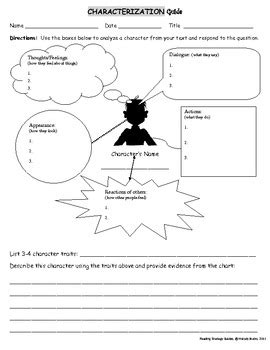 Reading Strategies  Characterization Guide Tpt
