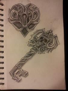 Heart Locket with Skeleton Key Tattoo Flash