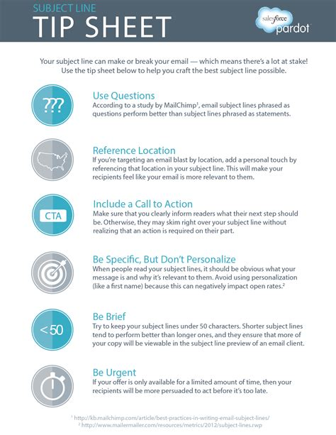 tip sheet template the ultimate subject line tip sheet salesforce pardot