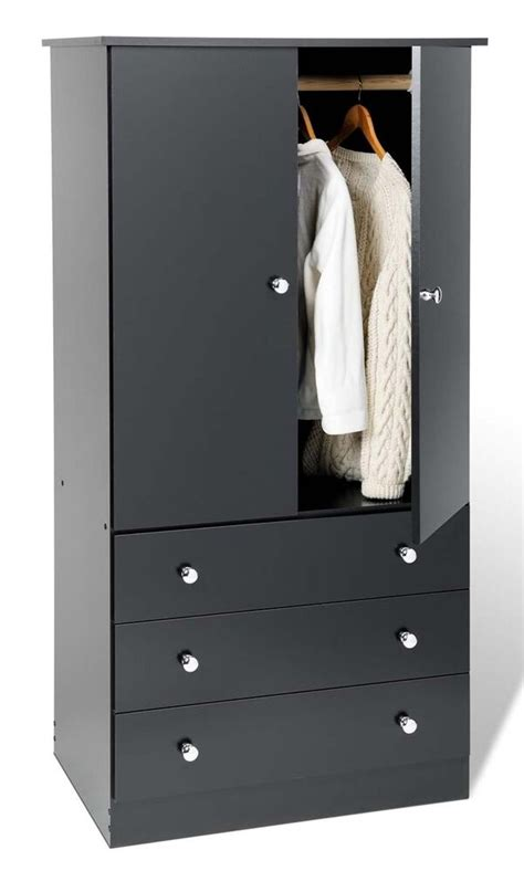 Black Wardrobe Dresser by 3 Drawer Wardrobe Dresser Chest Armoire Black New Ebay