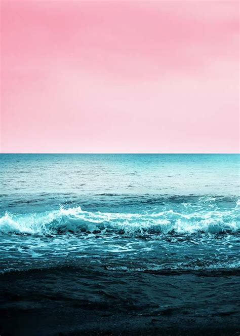 pink sky beach poster