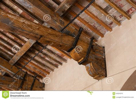 detail   wooden roof beam stock photo image