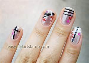 Star and line nail art designs easy stamp