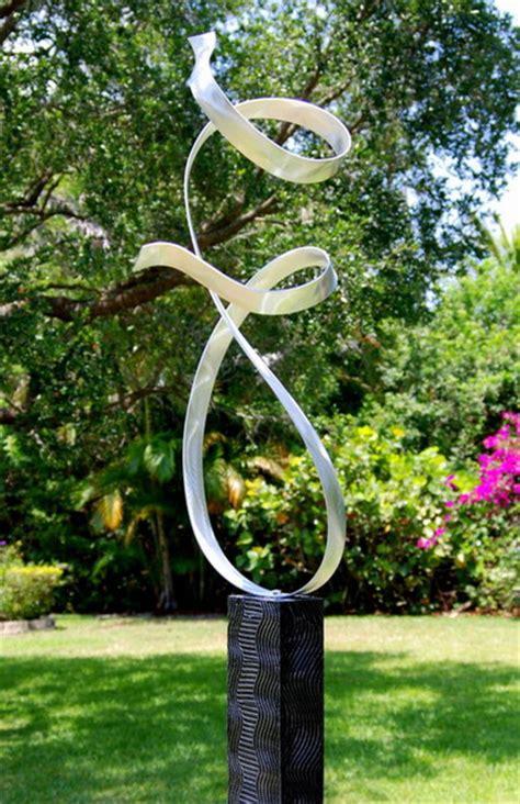 silver contemporary metal abstract garden sculpture