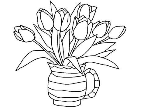 gambar vas bunga untuk mewarnai