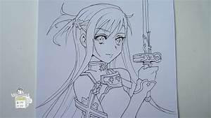 How To Draw Asuna From Sword Art Online  U30a2 U30b9 U30ca Part 1