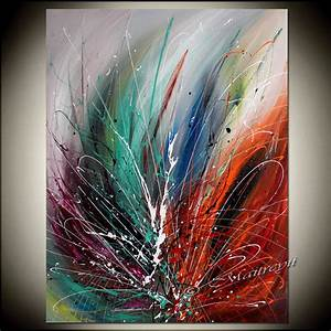 Large wall art ideas pinterest : Large wall art abstract painting red modern by