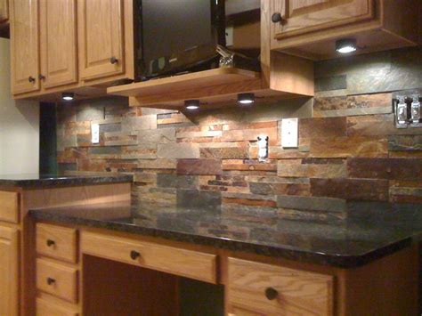 Slate Backsplash In Kitchen :  Beauteous Picture Of Small Kitchen Decoration