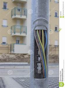 Copper Wires In Street Light Pole Stock Image