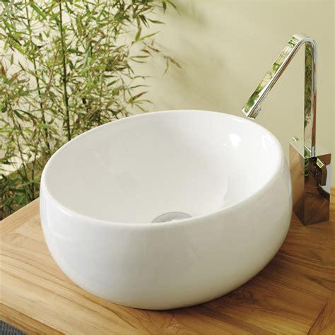 table de cuisine ronde blanche vasque à poser céramique diam 38 cm blanc lune leroy merlin