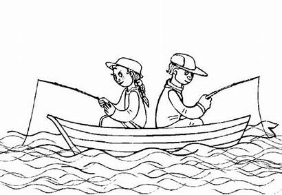 Fishing Coloring Boat Pages Drawing Printable Bass