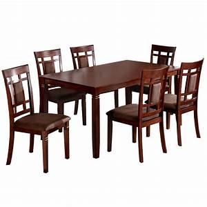 Venetian worldwide montclair 7 piece dark walnut dining for Home depot dining room sets