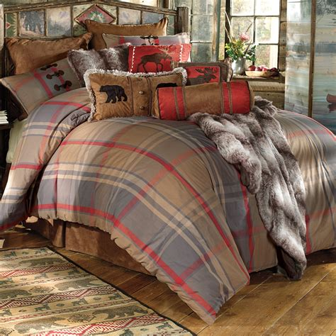 rustic bedding king size mountain trail plaid moose