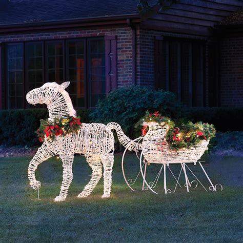 lighted holiday horse drawn sleigh hammacher schlemmer