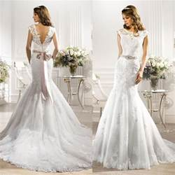 popular wedding dress designers 2016 rhinestone couture designer wedding dresses mermaid white lace cap sleeve bridal gowns belt