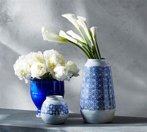 amadora blue mixed vases pottery barn