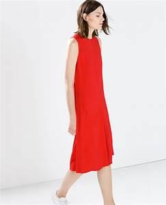 robe rouge mi longue zara coupe droite la robe longue With robe droite mi longue