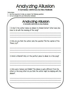 Allusions Practice Worksheet  Education  Pinterest  Worksheets, Teacher Pay Teachers And The